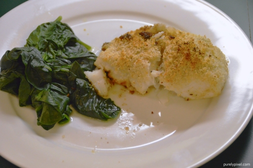 Baked Hake with Spinach