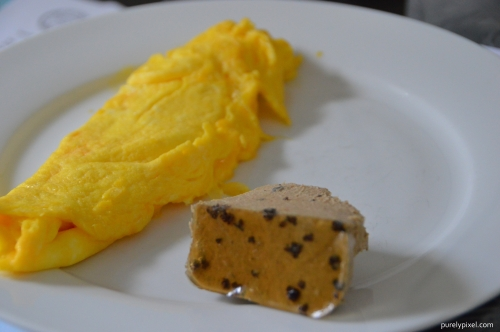 Cheese Omelette with Chicken and Duck Liver Mousse with Truffles